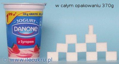 Danone jogurt truskawkowy z syropem, zawartość cukru